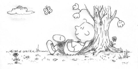 pencil: charlie brown relaxing